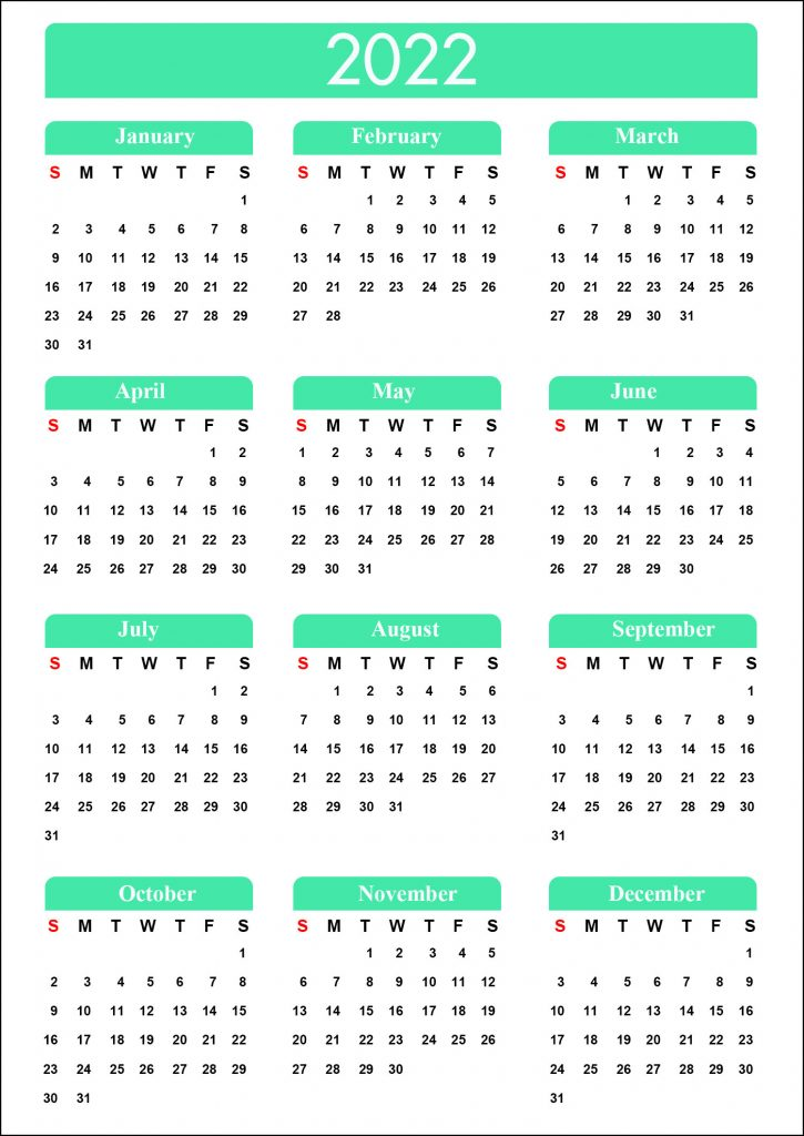 Blank Calendar 2022
