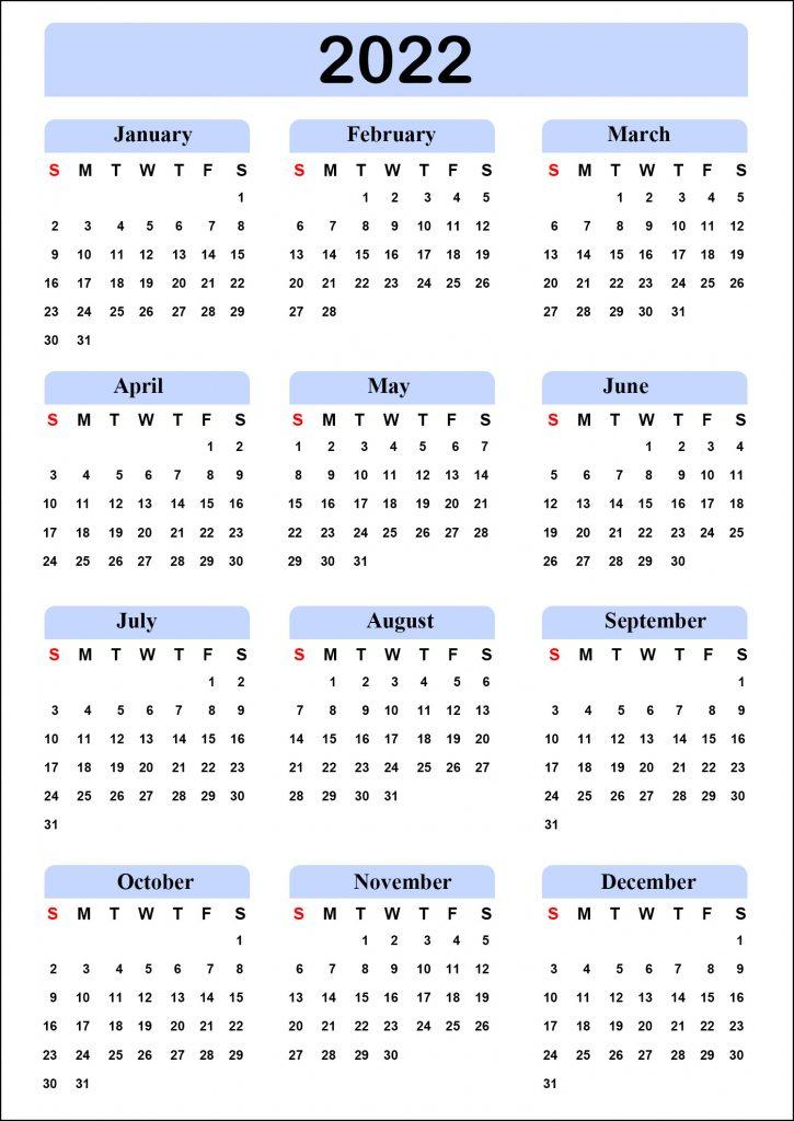 Calendar 2022 Blank