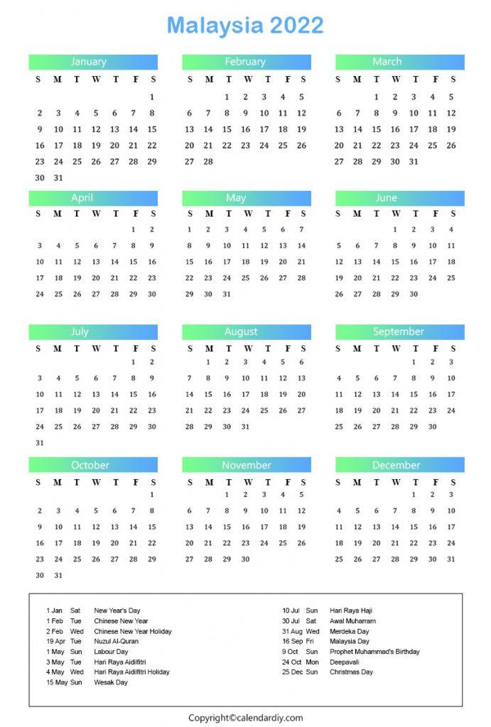 Malaysia Calendar 2022