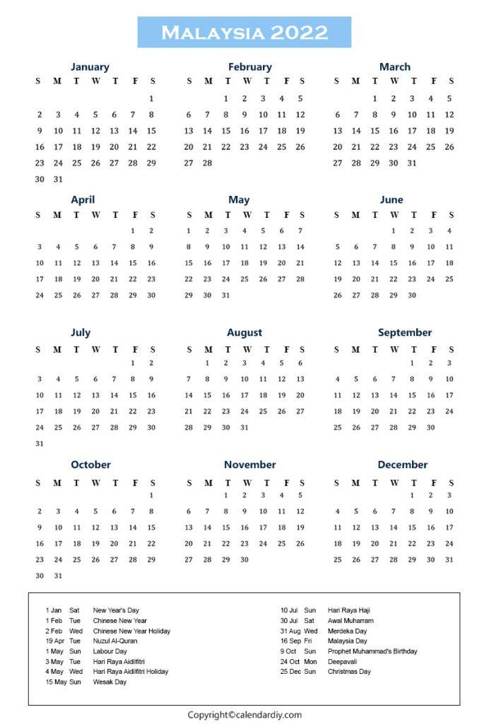 Malaysia Calendar 2022 With Holidays