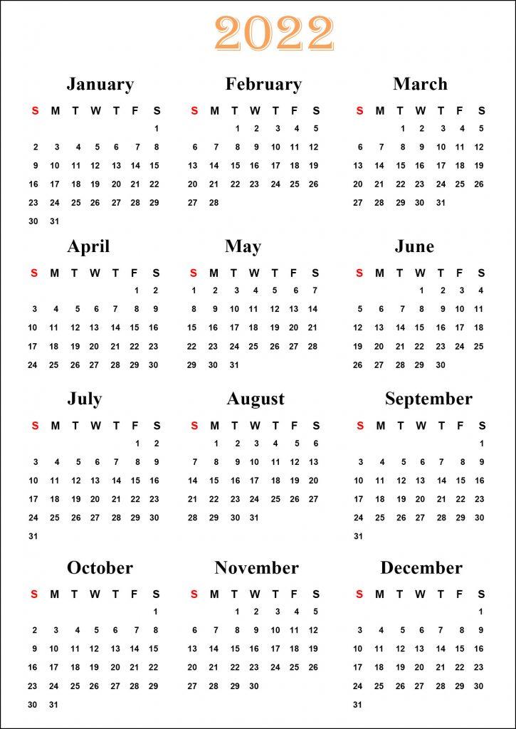 Calendar 2022 Printable Template