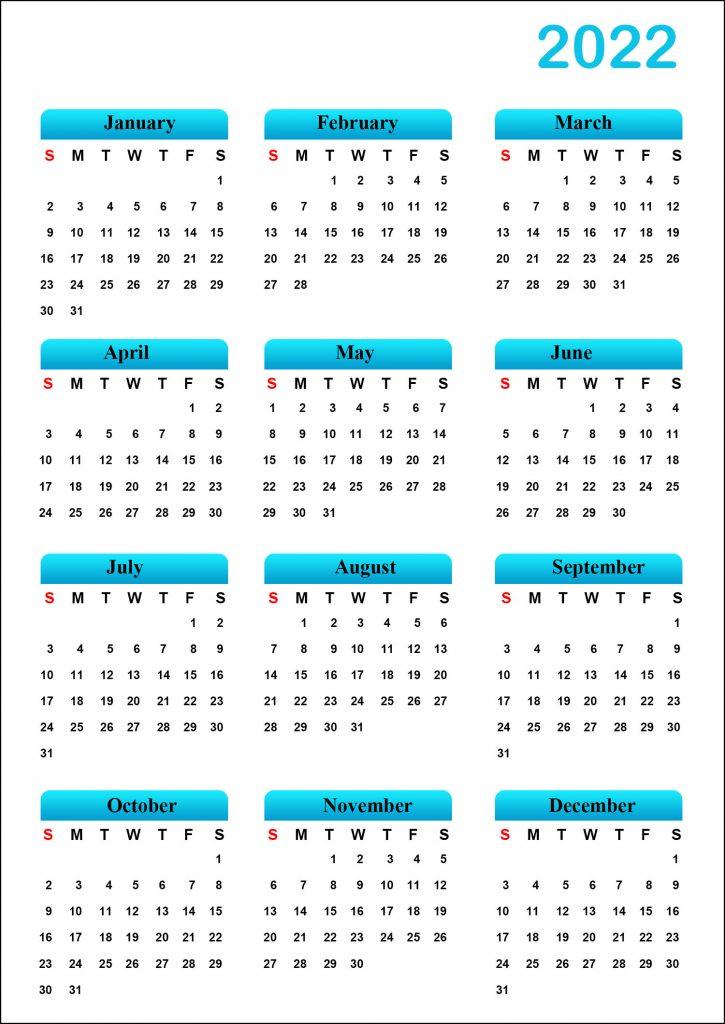 Printable Calendar 2022 Template